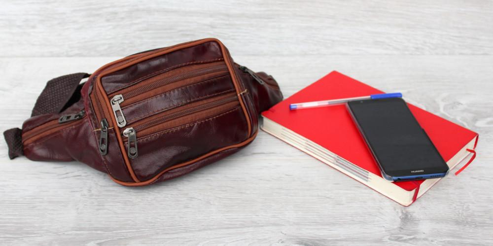 Отличная мужская сумка из натуральной кожи коричневого цвета (2004к) фото №1
