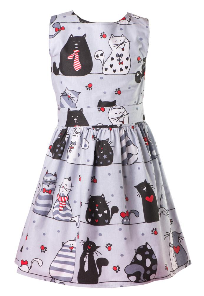 Хлопковое платье в коты фото №1