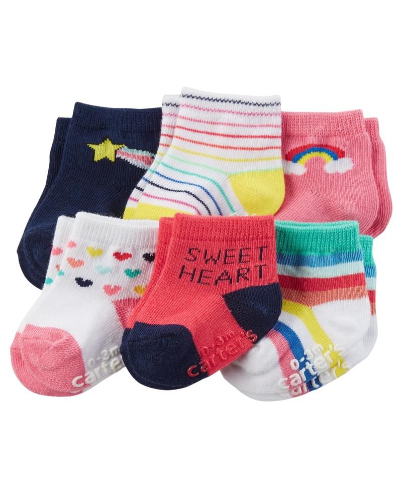 Носки, наборы носочков carters, 6 пар, размеры 3-12 мес. фото №1