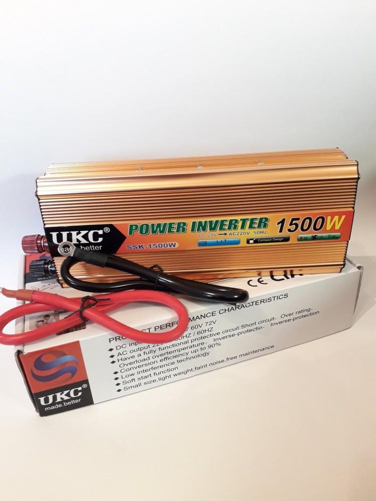 Инвертор ukc 1500w 24v преобразователь тока ac/dc gold фото №1