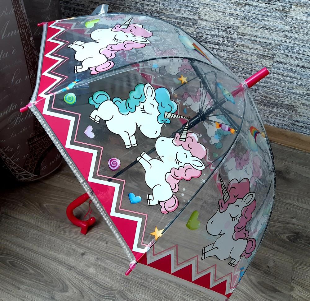 Прозрачный купольный детский зонтик с единорожками для девочки фото №1