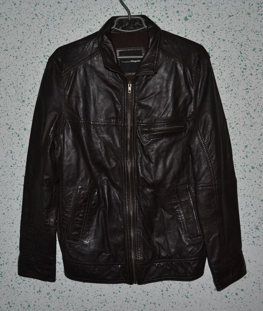 Темно-коричневая мужская кожаная куртка charles vogele, р. l фото №1