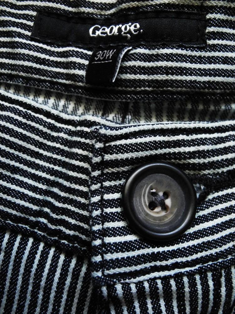 Мужские шорты в полоску стрейч george denim 30 w фото №1