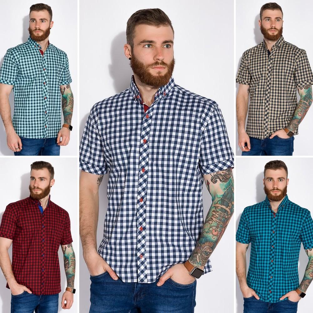 Рубашка с коротким рукавом в клетку фото №1