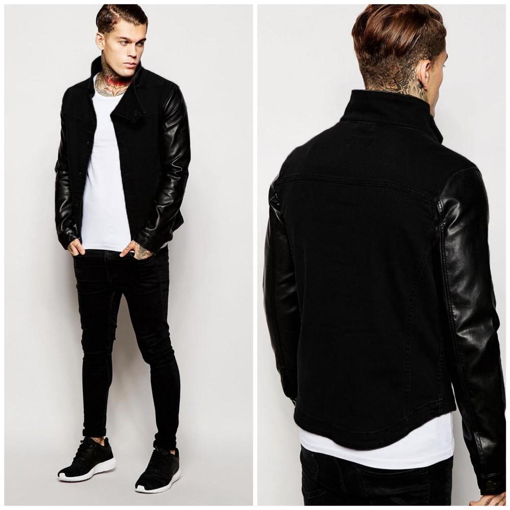 Куртка з рукавами з шкірозамінника 1750 фото №1