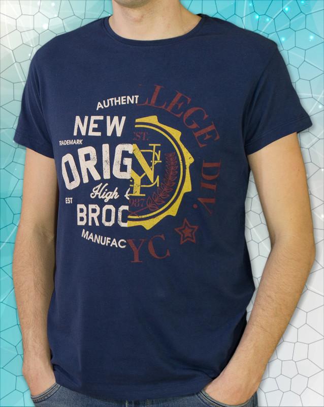 Качественная мужская футболка синего цвета, турция фото №1