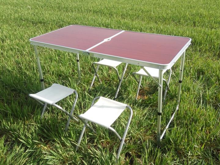 Стол для пикника раскладной со 4 стульями rainberg rb2300 120х60х6.5 см фото №1