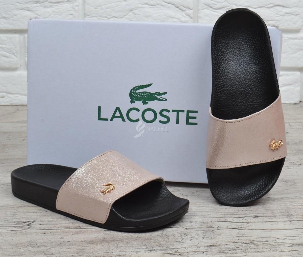 Шлепанцы женские кожаные lacoste пудра розовые топ качество фото №1