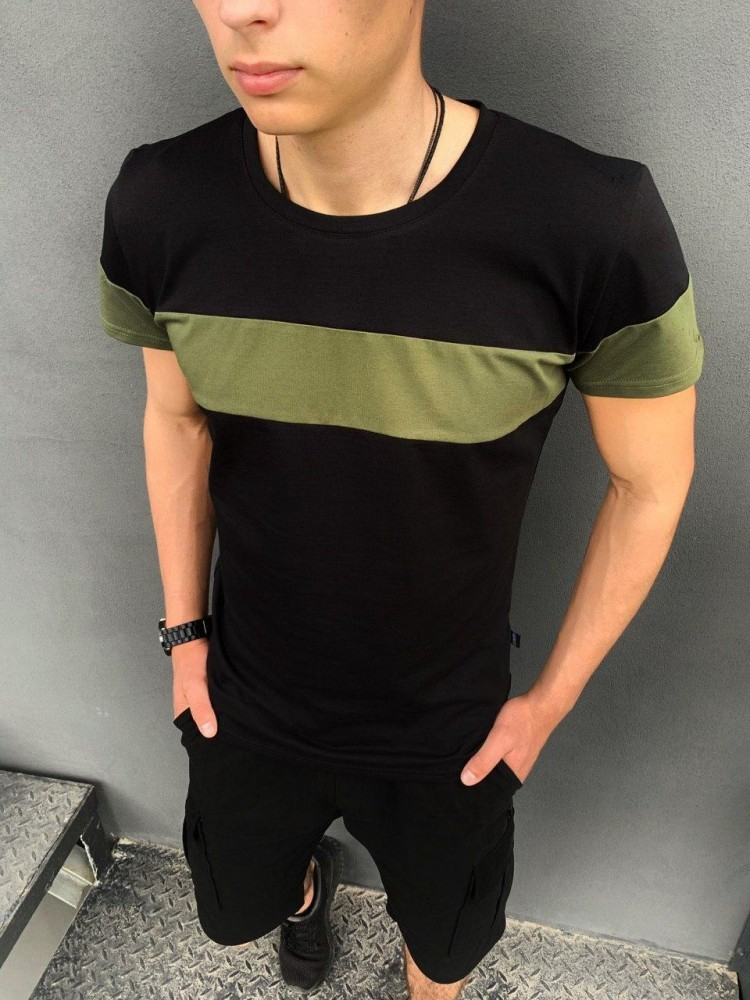 Футболка intruder 'color stripe' черная с полосой цвета хаки фото №1