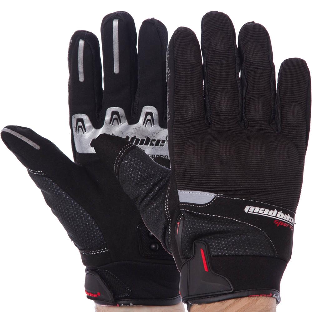 Мотоперчатки текстильные с закрытыми пальцами и протектором madbike mad-14: размер l-2xl фото №1