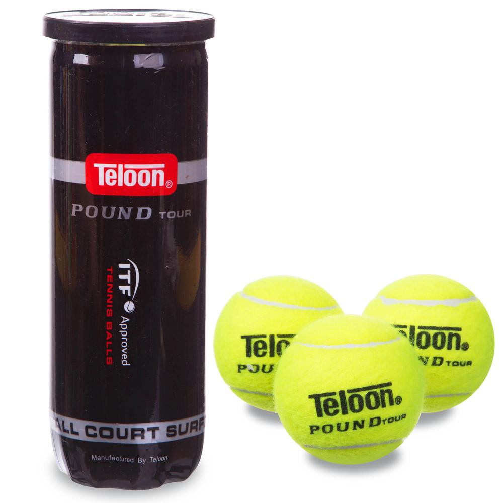 Мяч для большого тенниса teloon pound wzt828: 3 мяча в вакуумной упаковке фото №1