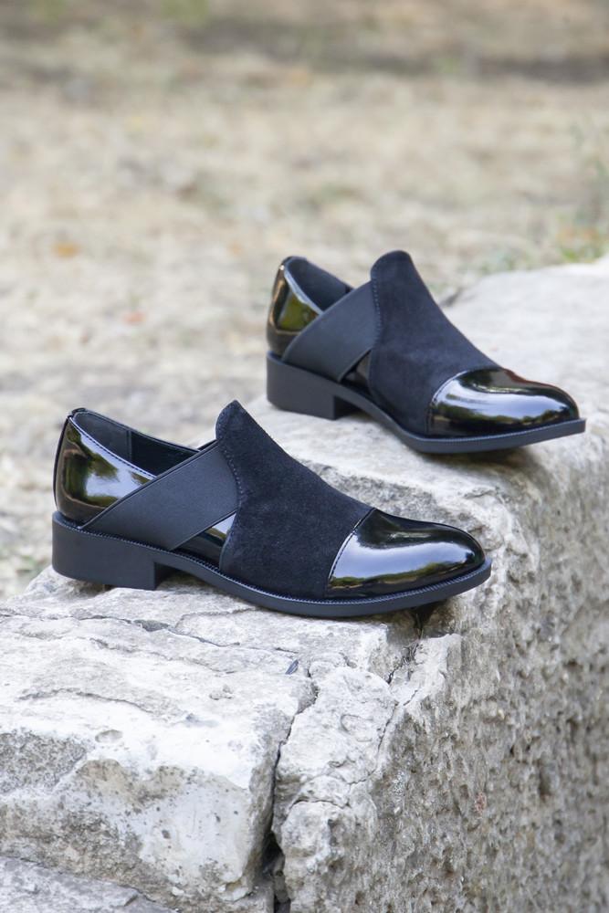 Черные лаковые закрытые туфли! фото №1