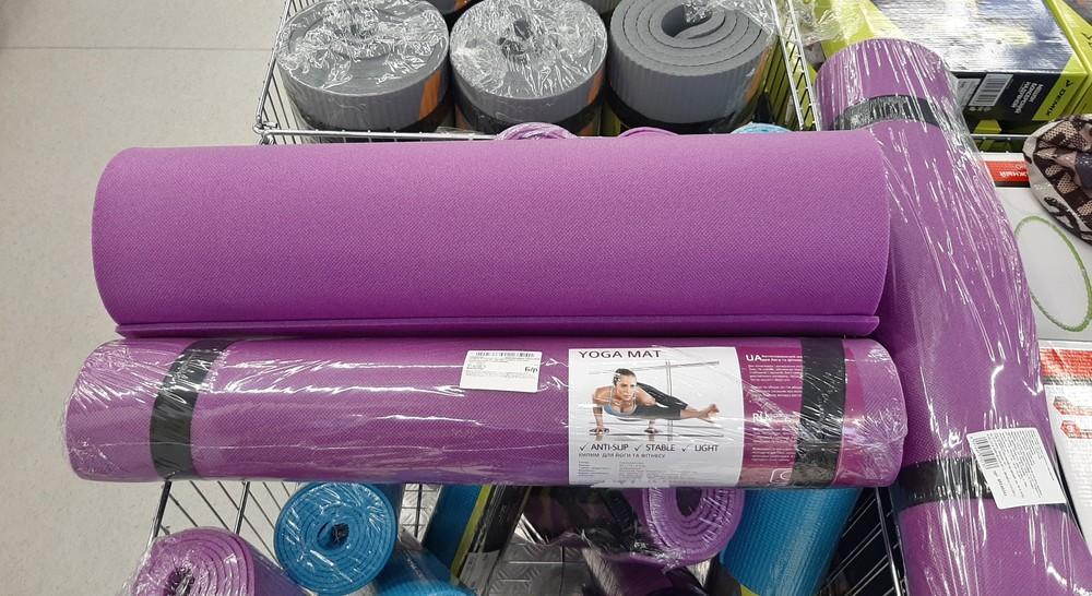 Коврик для йоги и фитнеса одношаровый сиреневый polifoam 5мм нескользящая поверхность невпитываетпот фото №1