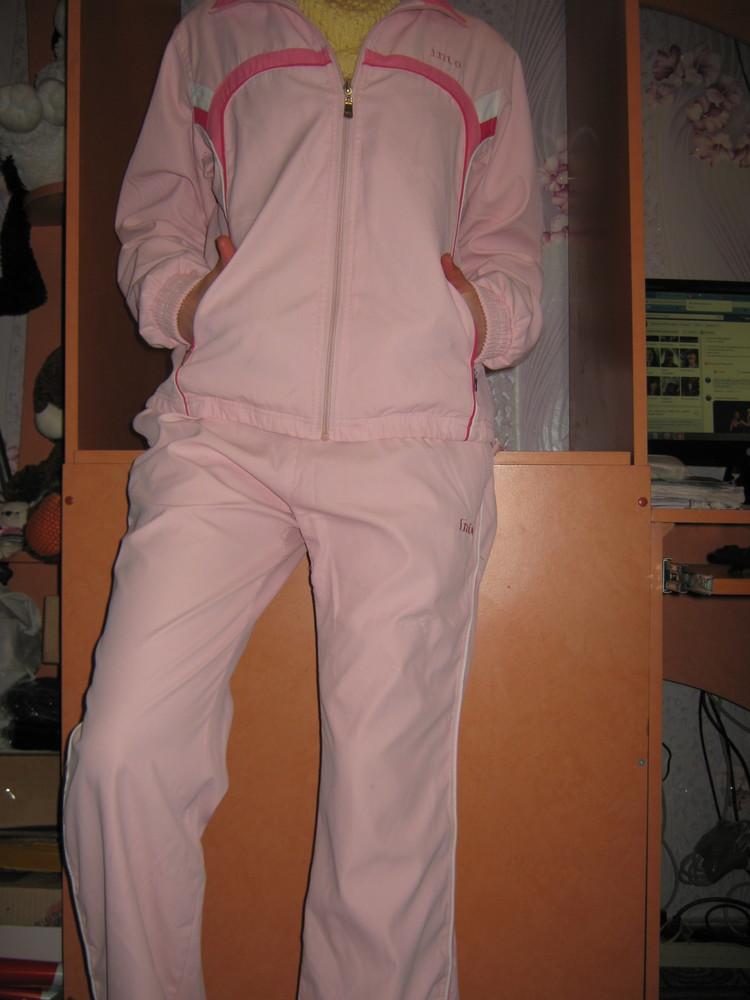 Женский спортивный костюм б/у, олимпийка+брюки р-р 46 розовый фото №1