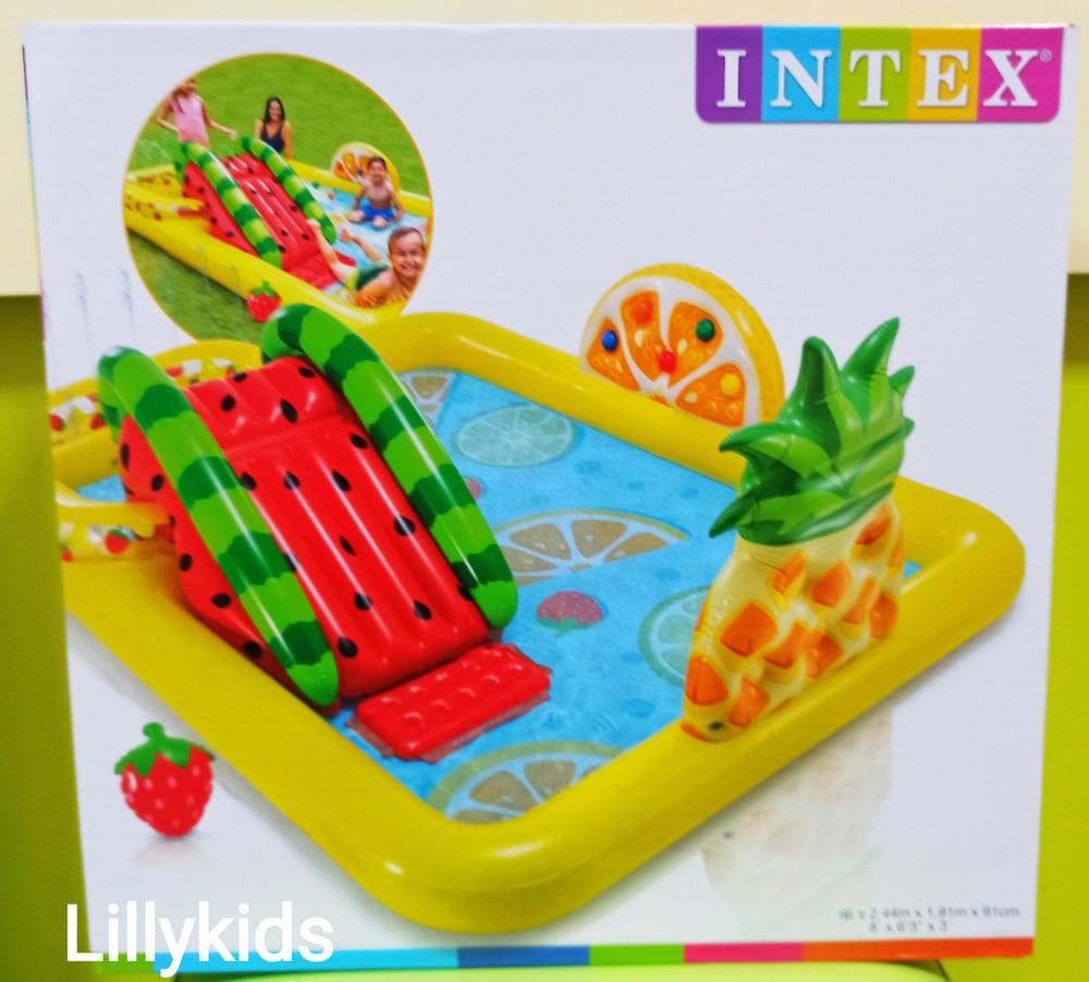 Надувной игровой центр intex 57158 «фрукты» (244 x 191 x 91 см), 2 бассейна интекс с горкой фото №1