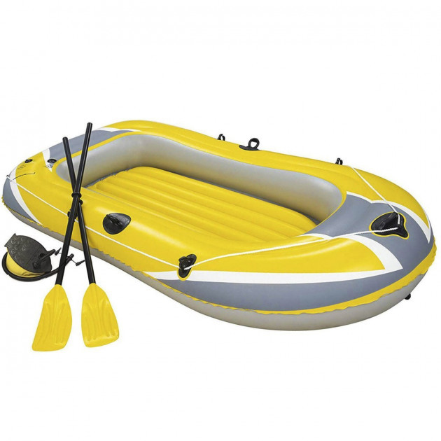 Полутораместная надувная лодка с веслами и насосом bestway hydro force raft 61083 желтая, 228*121 см фото №1
