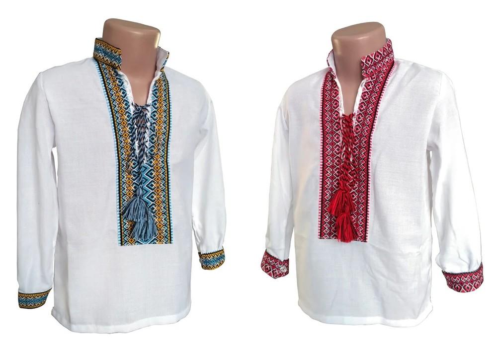 Вишиті білі сорочки з різними орнаментами , домоткане полотно 98-134 фото №1