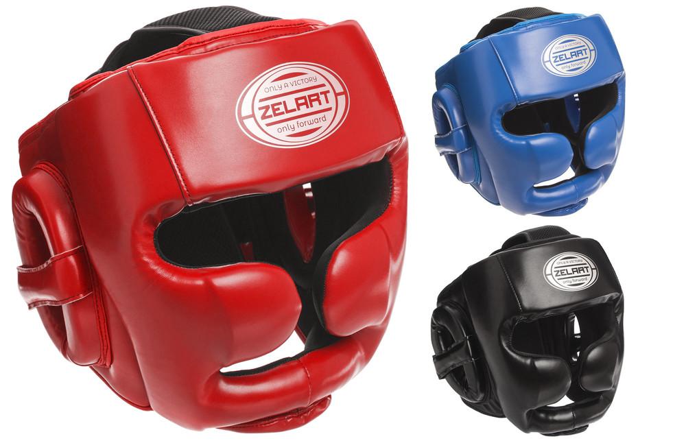 Шлем боксерский с полной защитой zelart 1367 (шлем бокс): размер m-xl (3 цвета) фото №1
