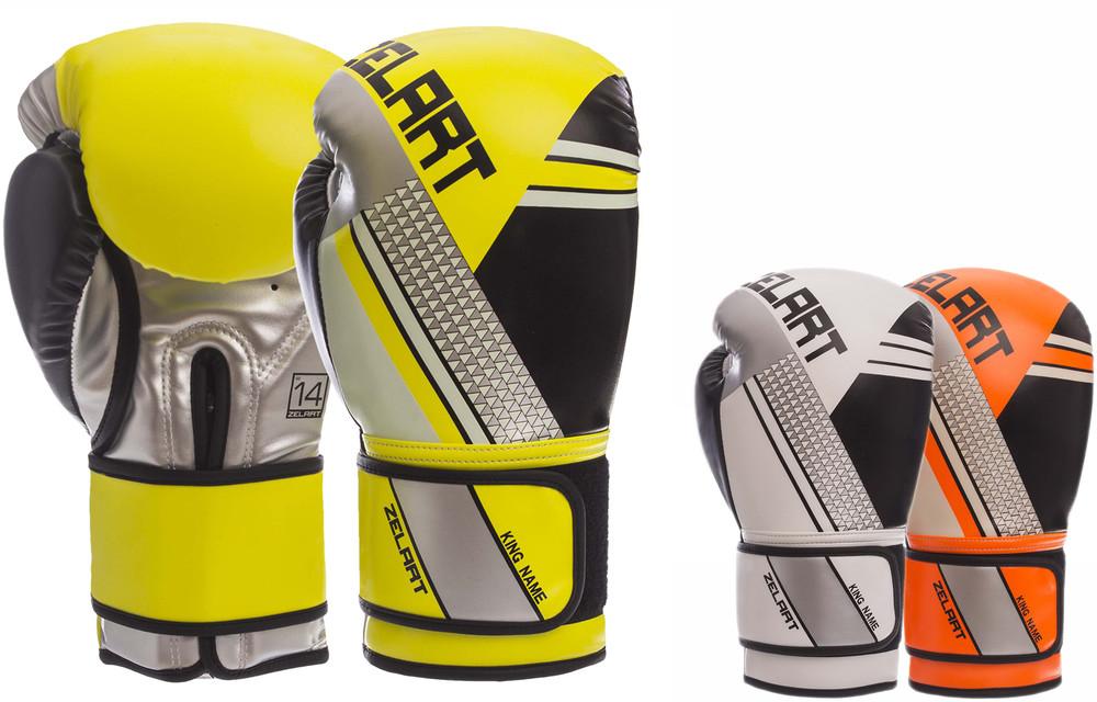 Перчатки боксерские на липучке zelart 1335: 10-14 унций, pu (3 цвета) фото №1