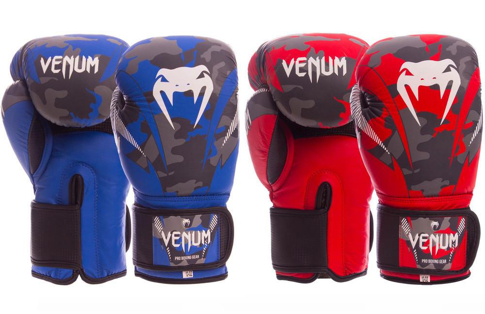 Перчатки боксерские кожаные на липучке venum dcs014: 10-14 унций (2 цвета) фото №1