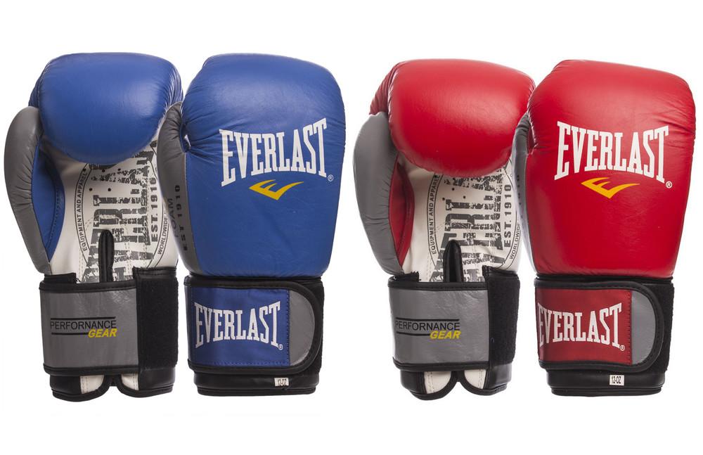 Перчатки боксерские кожаные на липучке everlast 009b: 10-14 унций (2 цвета) фото №1