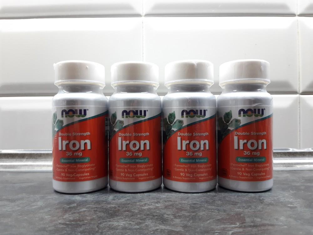 Now foods, железо бисглицинат, 90 капс. по 36 мг, iron double strengt фото №1