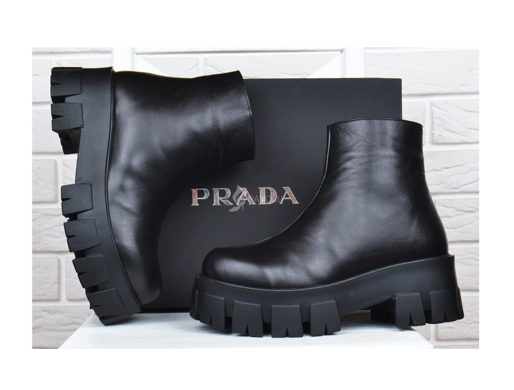 Ботинки женские кожаные prada прада на платформе черные 36-40р фото №1