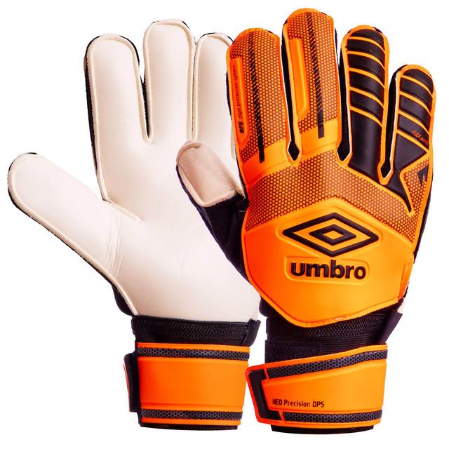 Перчатки вратарские с защитными вставками на пальцами umbro fb-879: размер 10 (orange/black) фото №1