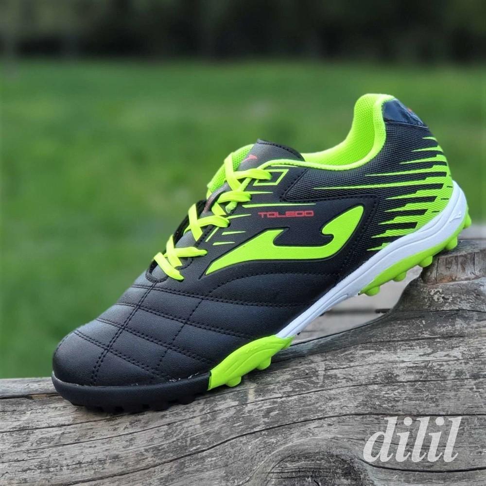 Футзалки, бампы, сороконожки кроссовки для футбола мужские подростковые joma черные салатовые фото №1