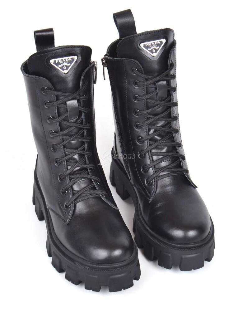 Ботинки женские кожаные prada натуральный мех черные прада зимние берцы фото №1