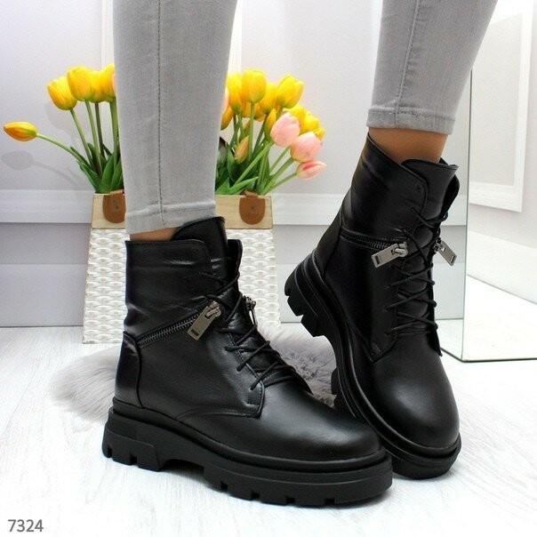 Зимние кожаные ботинки на шнуровке, женские зимние ботинки, зимові ботінки 36р-23.5 см код 7324 фото №1