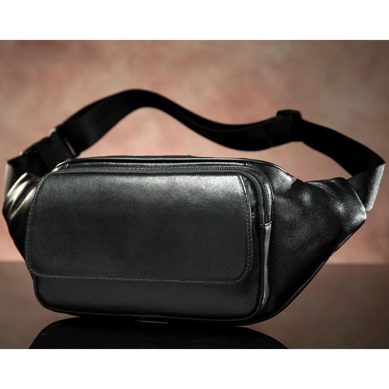 """Мужская сумка барсетка бананка """"waist bag"""" чёрная из натуральной кожи фото №1"""