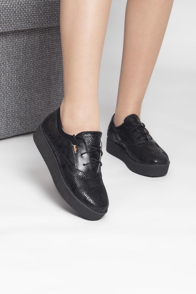 Черные повседневные кожаные туфли-кеды! фото №1