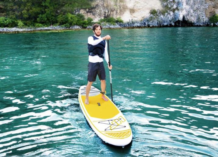 Доска для серфинга борд бело-желтая надувная доска для серфинга широкая основа сап борда 76 см позво фото №1