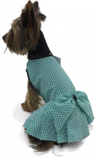 Платье для собак горошек бирюза фото №1
