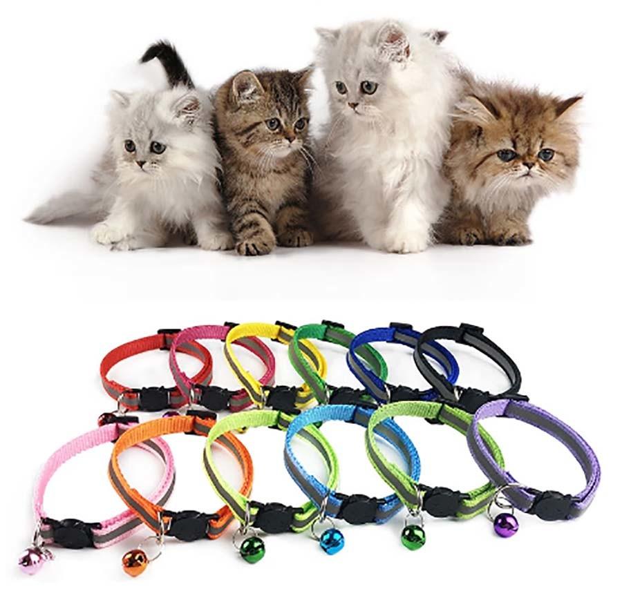 Ошейник светоотражающий с колокольчиком для котов и маленьких собак фото №1