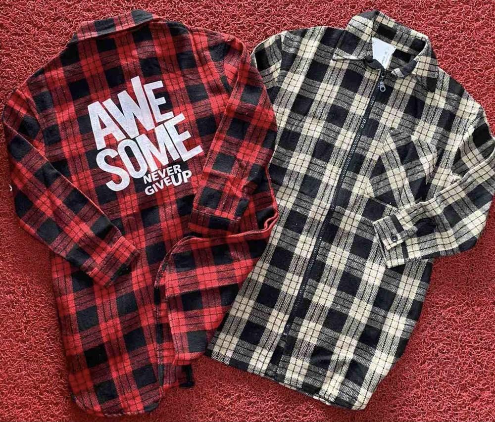 Рубашка тёплая в клетку для девочки фото №1