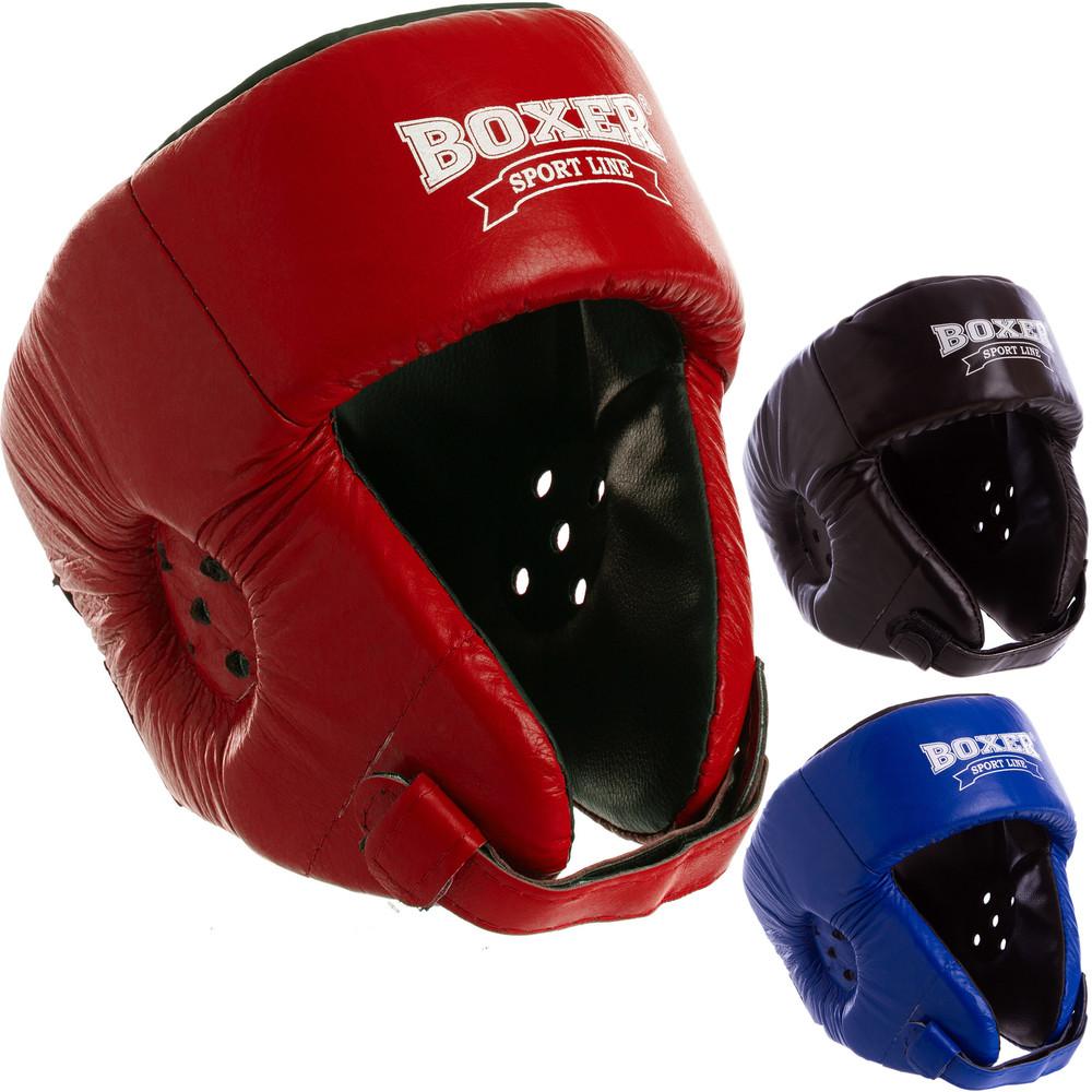 Шлем боксерский открытый кожаный boxer 2027 (шлем для бокса): размер l (3 цвета) фото №1