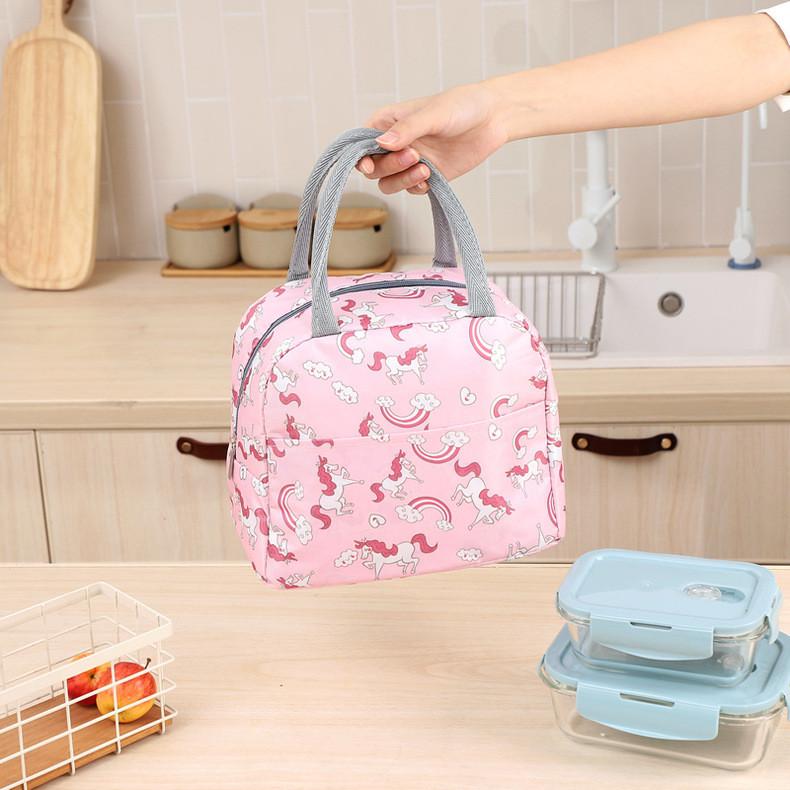 Термосумка, ланч-бокс, сумка для обедов, розовая. единороги и радуги. фото №1