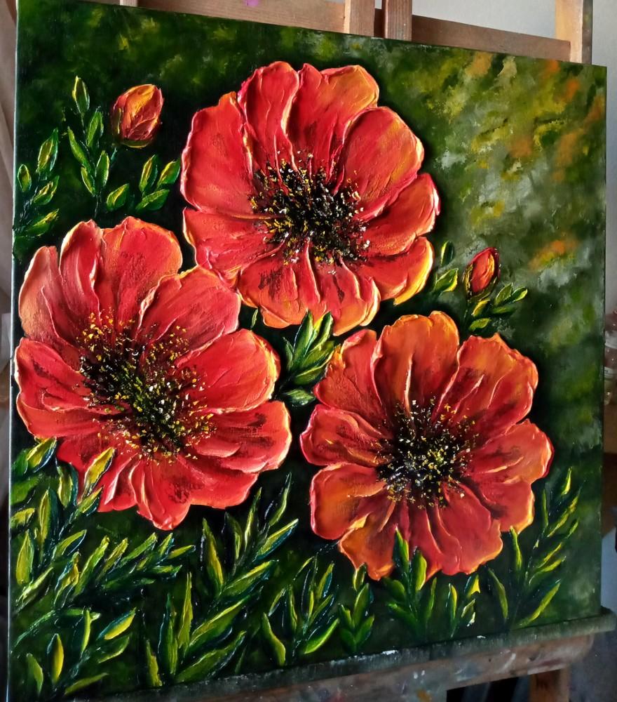 """Картина маслом """"квіти """" 60х60 фото №1"""