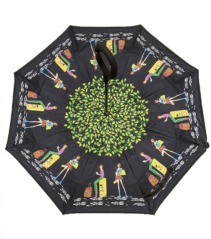 Зонт наоборот, зонт обратного сложения, ветрозащитный зонт up-brella, антизонт, зонт перевертыш зел фото №1