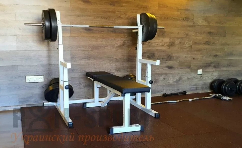 Скамья для жима, стойки для приседаний + 115 кг блинов и 3 грифа фото №1