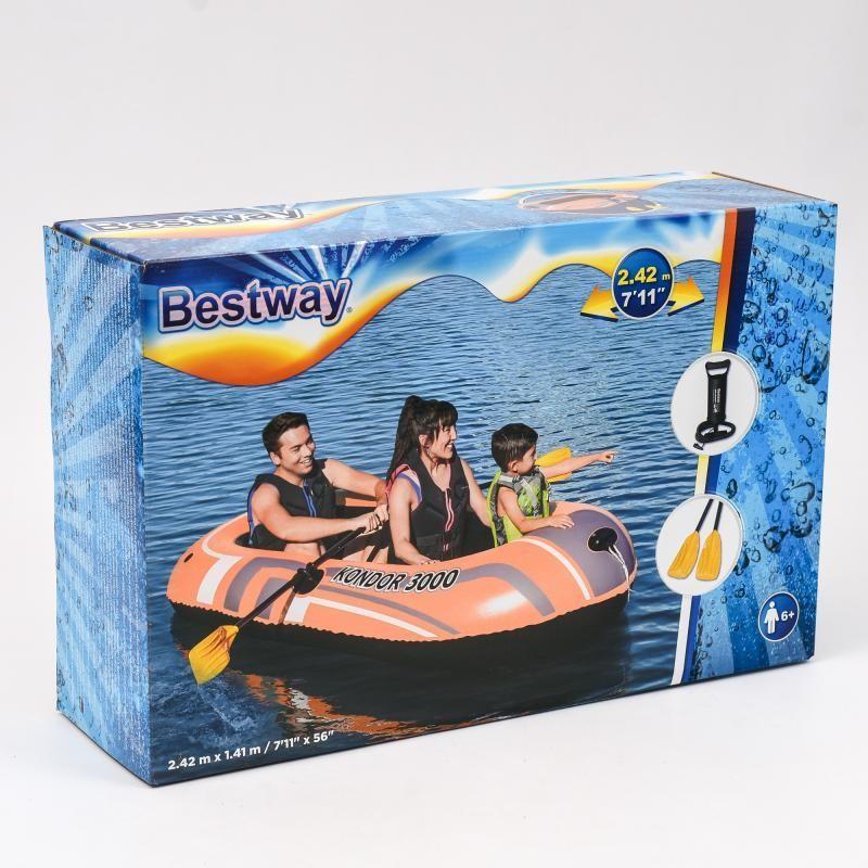 Лодка bestway61102 вёсла, ножной насос, ремкомплект в наборе фото №1