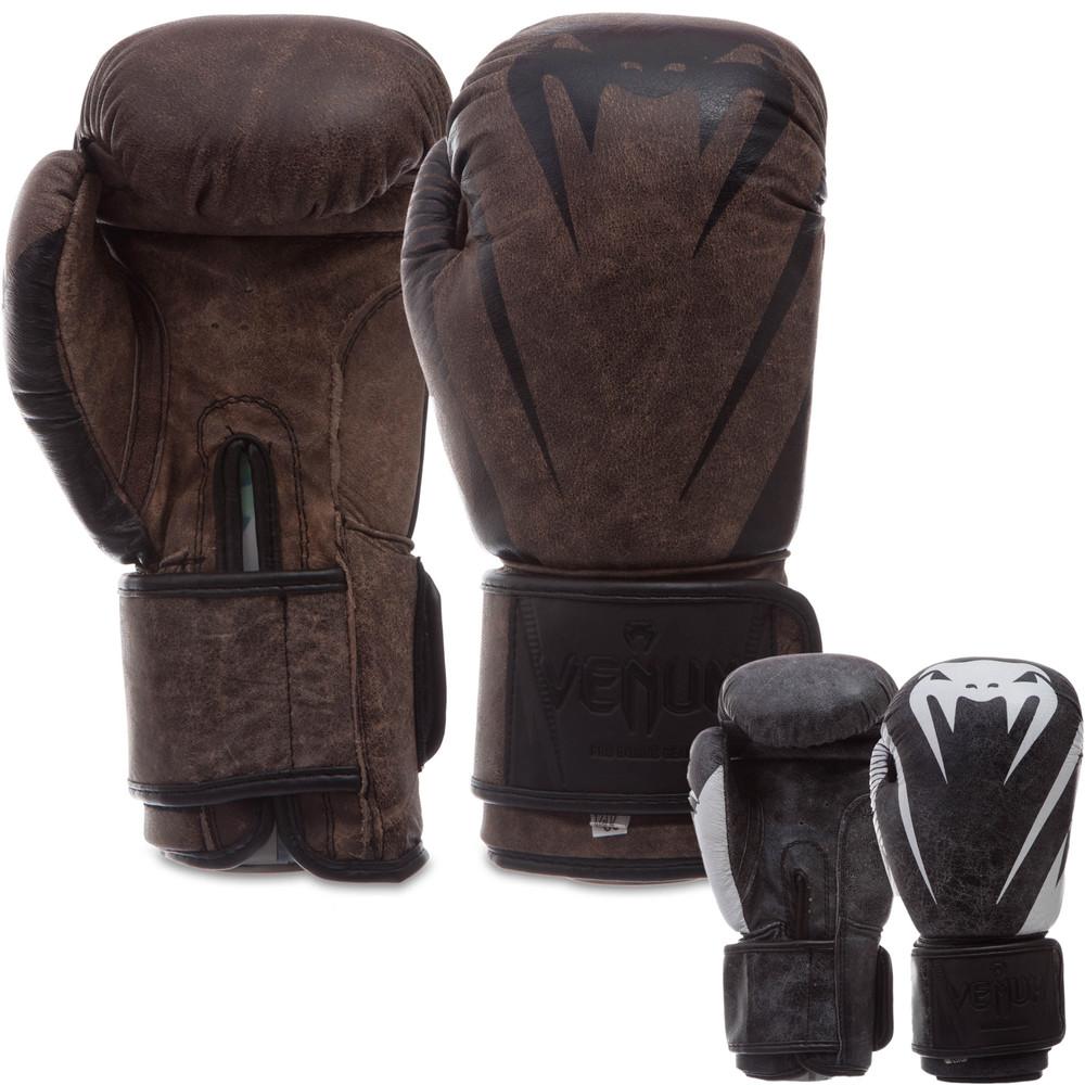 Перчатки боксерские кожаные на липучке venum 0700: 10-14 унций (2 цвета) фото №1