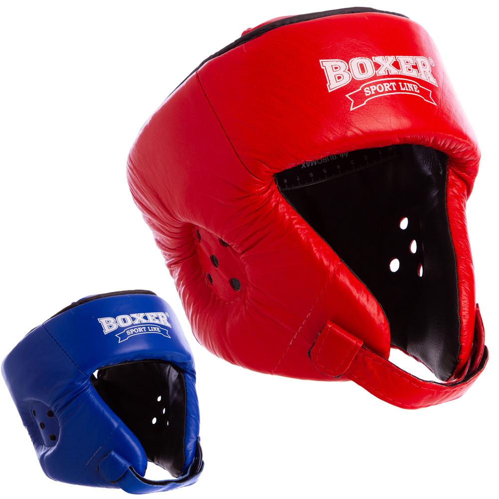 Шлем боксерский открытый кожаный с усиленной защитой макушки boxer 2029: размер m-xl (2 цвета) фото №1