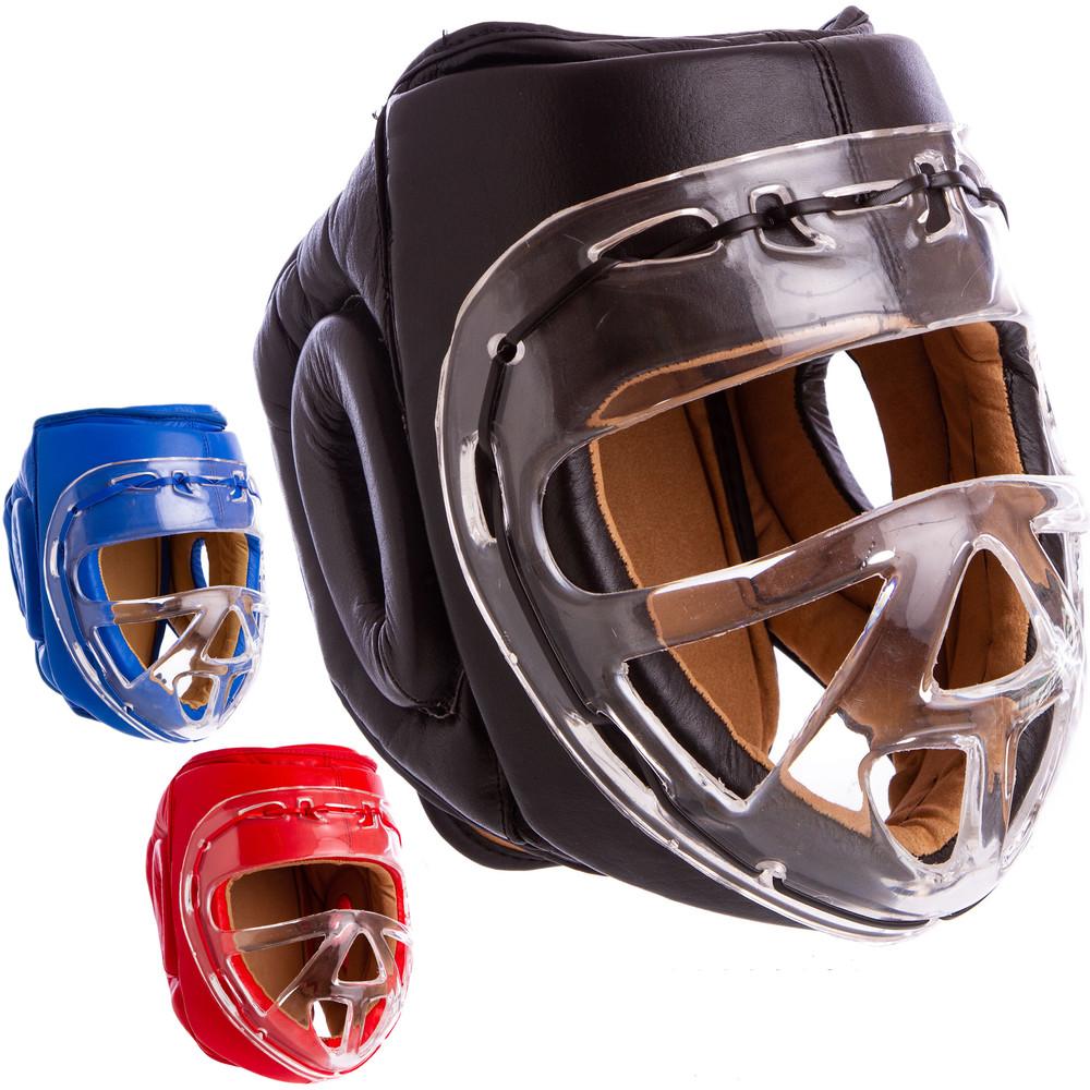 Шлем для единоборств кожаный с прозрачной маской everlast 1427: размер xs-xl (3 цвета) фото №1