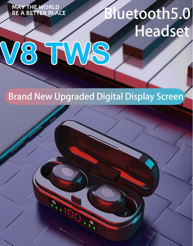 Bluetooth наушники tws v8 беспроводные фото №1