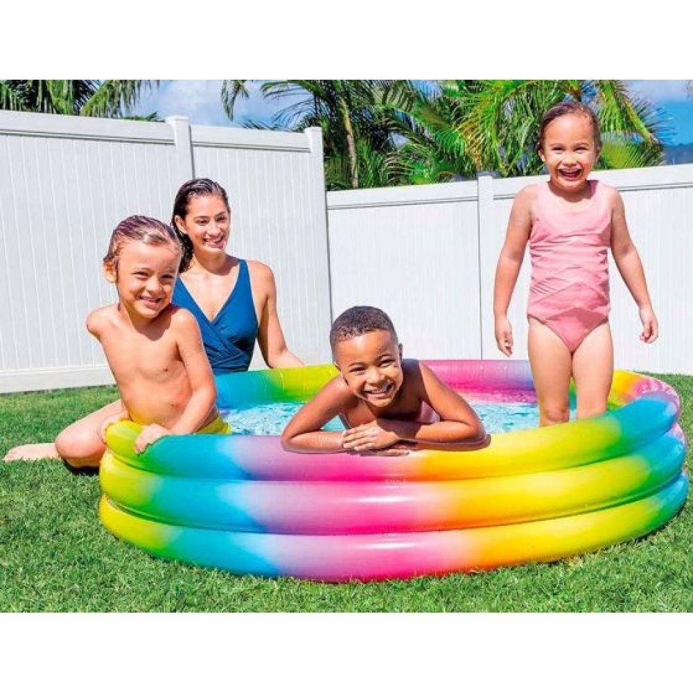 """Детский надувной бассейн intex """"радуга"""" круглый 147х33 см на 324 литров фото №1"""