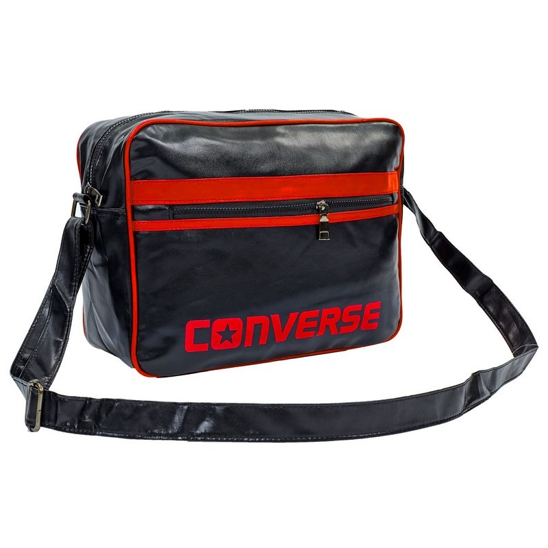Сумка лакированная через плечо converse 4116: размер 28х37х12см black-red фото №1