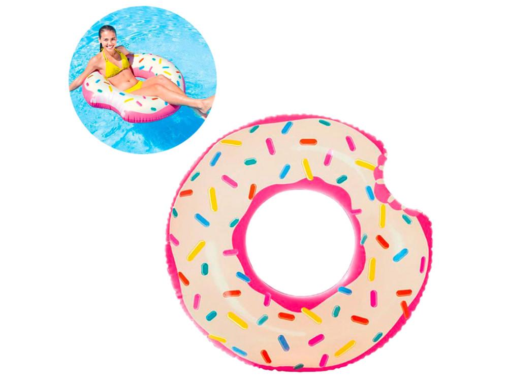 Надувной круг intex 56265 пончик, 107 х 99 см розовый фото №1